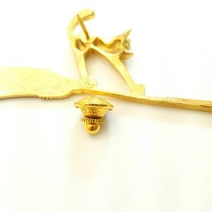 Avon Jewelry - Vintage Avon Halloween Cat Riding Broom Brooch Pin
